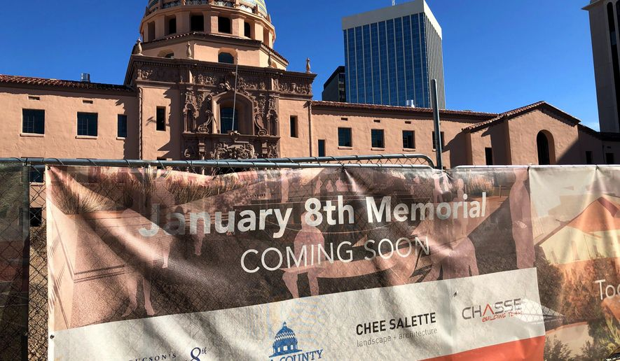 The construction site for a memorial honoring victims of a mass shooting is shown, Wednesday, Jan. 8, 2020, in Tucson, Ariz. The shooting, which left former U.S. congresswoman Gabby Giffords severely injured, took place nine years ago. Construction is expected to be done in late summer or fall. (Astríd Galván via AP)