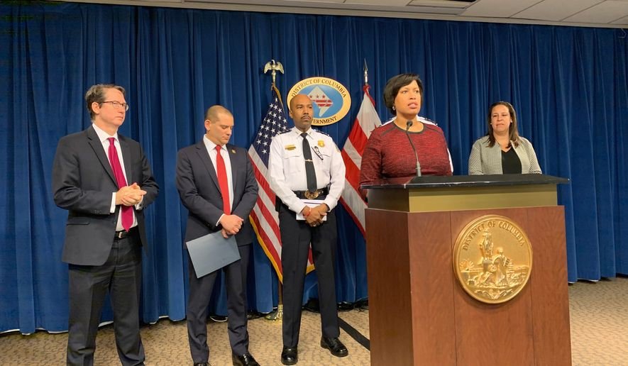 D.C. Mayor Muriel Bowser briefs the press on how the District is ramping up security in light of increased tensions with Iran in the John A. Wilson Building on Jan. 9, 2020. (Photo by Sophie Kaplan / The Washington Times)