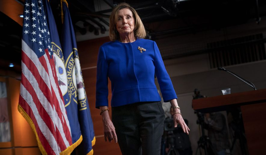 House Speaker Nancy Pelosi was expected to address serious and pressing issues during a press conference, but lead by congratulating a lawmaker on her wedding. (Associated Press)