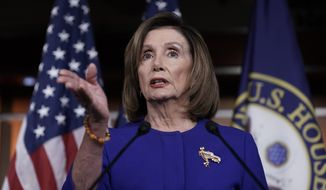 Speaker of the House Nancy Pelosi, D-Calif., meets with reporters following escalation of tensions this week between the U.S. and Iran, Thursday, Jan. 9, 2020, on Capitol Hill in Washington. (AP Photo/J. Scott Applewhite)