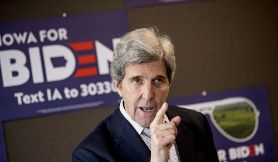 Former Secretary of State John Kerry speaks at a campaign stop to support Democratic presidential candidate former Vice President Joe Biden at the Biden for President Fort Dodge Office, Thursday, Jan. 9, 2020, in Fort Dodge, Iowa. (AP Photo/Andrew Harnik)