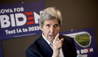 Former Secretary of State John Kerry speaks at a campaign stop to support Democratic presidential candidate former Vice President Joe Biden at the Biden for President Fort Dodge Office, Thursday, Jan. 9, 2020, in Fort Dodge, Iowa. (AP Photo/Andrew Harnik) ** FILE **