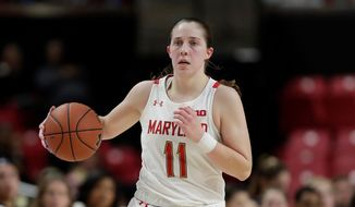 Maryland guard Taylor Mikesell dribbles up court against Michigan during the second half of an NCAA college basketball game, Saturday, Dec. 28, 2019, in College Park, Md. Maryland won 70-55. (AP Photo/Julio Cortez) ** FILE **