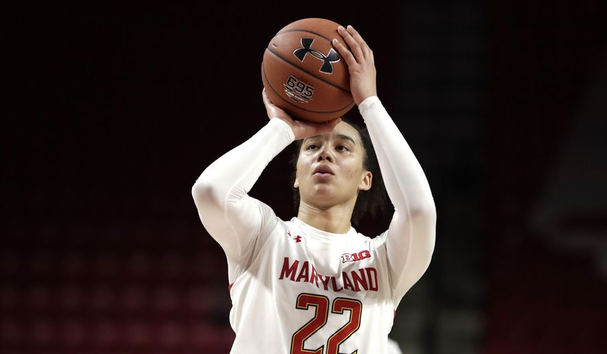 Maryland guard Blair Watson shoots a free throw against Michigan during the second half of an NCAA college basketball game, Saturday, Dec. 28, 2019, in College Park, Md. Maryland won 70-55. (AP Photo/Julio Cortez) **FILE**