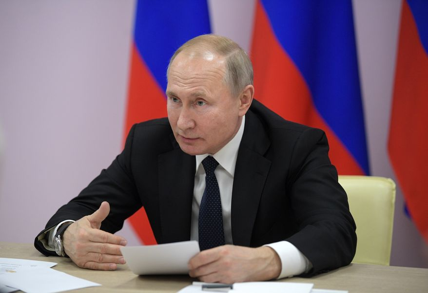 Russian President Vladimir Putin speaks during a meeting in Sevastopol, Crimea, Thursday, Jan. 9, 2020. The drills involved warships and aircraft that launched missiles at practice targets. (Alexei Druzhinin, Sputnik, Kremlin Pool Photo via AP)