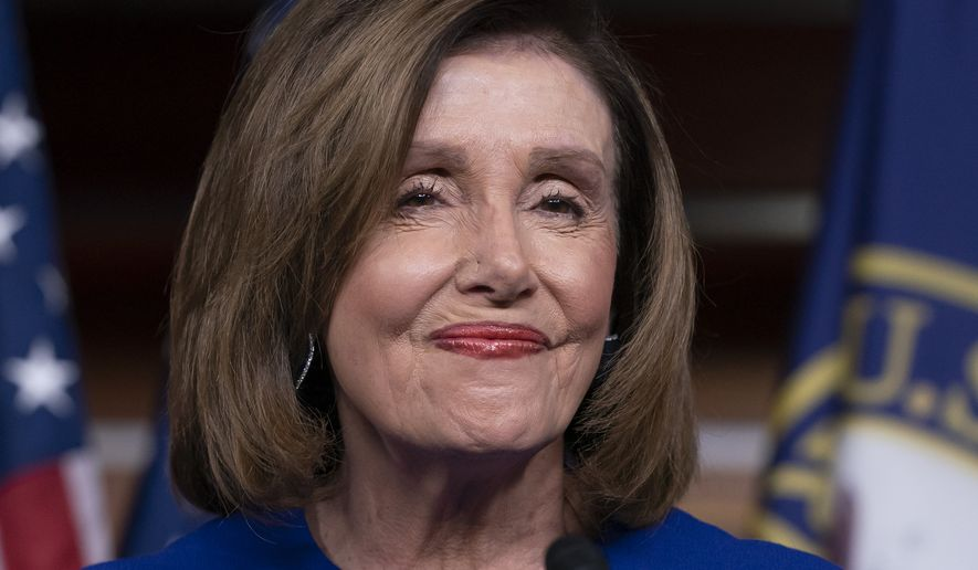 Speaker of the House Nancy Pelosi, D-Calif., arrives to meet with reporters following escalation of tensions this week between the U.S. and Iran, Thursday, Jan. 9, 2020, on Capitol Hill in Washington. (AP Photo/J. Scott Applewhite)