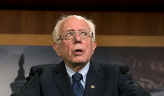 Sen. Bernie Sanders, I-Vt., speaks during a news conference on a measure limiting President Donald Trump's ability to take military action against Iran, on Capitol Hill, in Washington, Thursday, Jan. 9, 2020. (AP Photo/Jose Luis Magana)