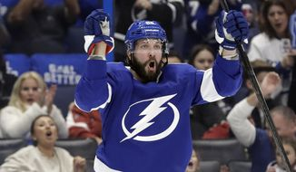 Tampa Bay Lightning right wing Nikita Kucherov celebrates his goal against the Arizona Coyotes during the second period of an NHL hockey game Thursday, Jan. 9, 2020, in Tampa, Fla. (AP Photo/Chris O'Meara)