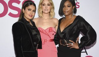 "Actors Salma Hayek, left, Rose Byrne and Tiffany Haddish attend the world premiere of ""Like a Boss"" at the SVA Theatre on Tuesday, Jan. 7, 2020, in New York. (Photo by Evan Agostini/Invision/AP)"