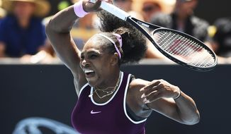United States' Serena Williams makes a return during her quarter finals singles match against Germany's Laura Siegemund at the ASB Classic in Auckland, New Zealand, Friday, Jan. 10, 2020. (Chris Symes/Photosport via AP)