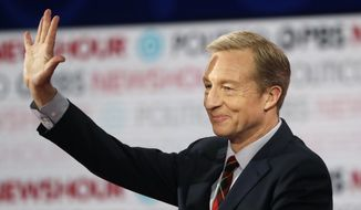 In this Dec. 19, 2019, file photo, Democratic presidential candidate businessman Tom Steyer waves before a Democratic presidential primary debate in Los Angeles, Calif. Steyer has unveiled an immigration proposal seeking to make immigrants fleeing the effects of climate change eligible for legal entry into the United States. (AP Photo/Chris Carlson, File)