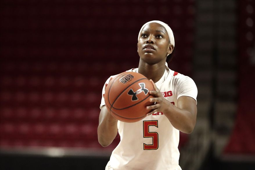 Maryland guard Kaila Charles shoots a free throw against Ohio State during the second half of an NCAA college basketball game, Monday, Jan. 6, 2020, in College Park, Md. Maryland won 72-62. (AP Photo/Julio Cortez)  **FILE**