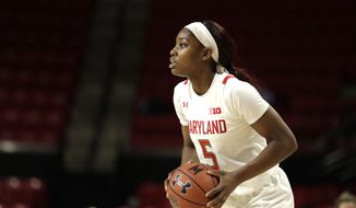 Maryland guard Kaila Charles looks for an open teammate against Ohio State during the second half of an NCAA college basketball game, Monday, Jan. 6, 2020, in College Park, Md. Maryland won 72-62. (AP Photo/Julio Cortez) **FILE**
