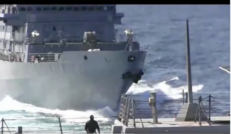 A screenshot from the U.S. Navy's 5th Fleet showing an encounter with a Russian warship.
