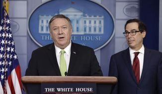 Secretary of State Mike Pompeo and Treasury Secretary Steve Mnuchin brief reporters about additional sanctions placed on Iran, at the White House, Friday, Jan. 10, 2019, in Washington. (AP Photo/ Evan Vucci)