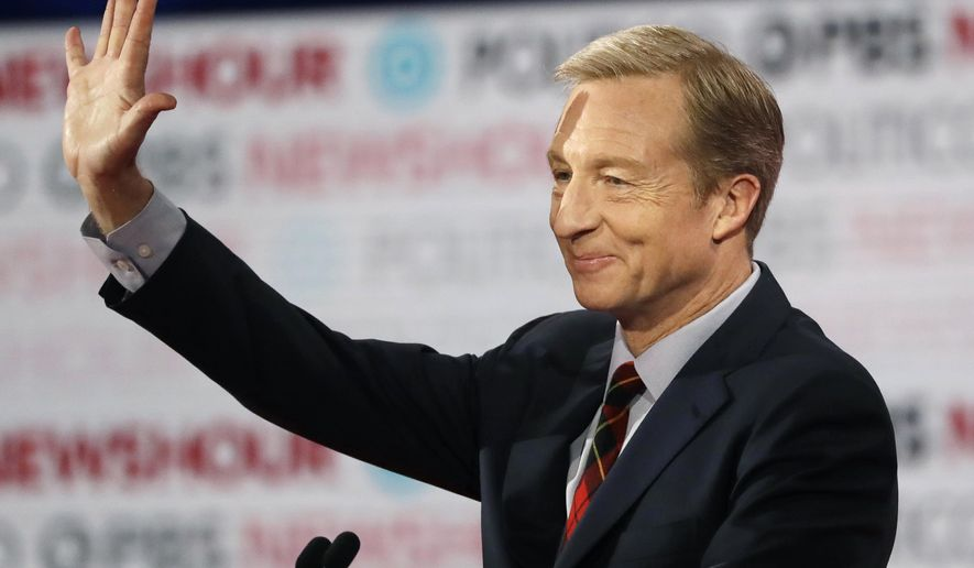 FILE - In this Dec. 19, 2019, file photo, Democratic presidential candidate businessman Tom Steyer waves before a Democratic presidential primary debate in Los Angeles, Calif. Steyer has unveiled an immigration proposal seeking to make immigrants fleeing the effects of climate change eligible for legal entry into the United States. (AP Photo/Chris Carlson, File)