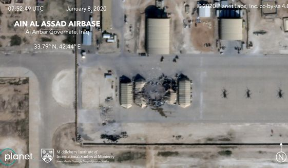 FILE - This satellite image provided by the Middlebury Institute of International Studies and Planet Labs Inc., on Wednesday, Jan. 8, 2020 shows damage caused by an Iranian missile strike at the Ain al-Asad air base in Iraq. Iran's actions were in response to the U.S. killing of Revolutionary Guard Gen. Qassem Soleimani. On Friday, Jan. 20, 2020, The Associated Press reported on stories circulating online incorrectly asserting there had been casualties from the attack. Both U.S. and Iraqi forces confirmed soon after the missiles were launched that no casualties were reported, and in his comments about the attack President Donald Trump said no Americans or Iraqis were harmed. (Planet Labs Inc./Middlebury Institute of International Studies via AP)
