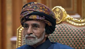 In this Jan. 14, 2019, file photo, Sultan Qaboos bin Said of Oman sits during a meeting with Secretary of State Mike Pompeo at the Beit Al Baraka Royal Palace in Muscat, Oman. (Andrew Caballero-Reynolds/Pool Photo via AP, File)