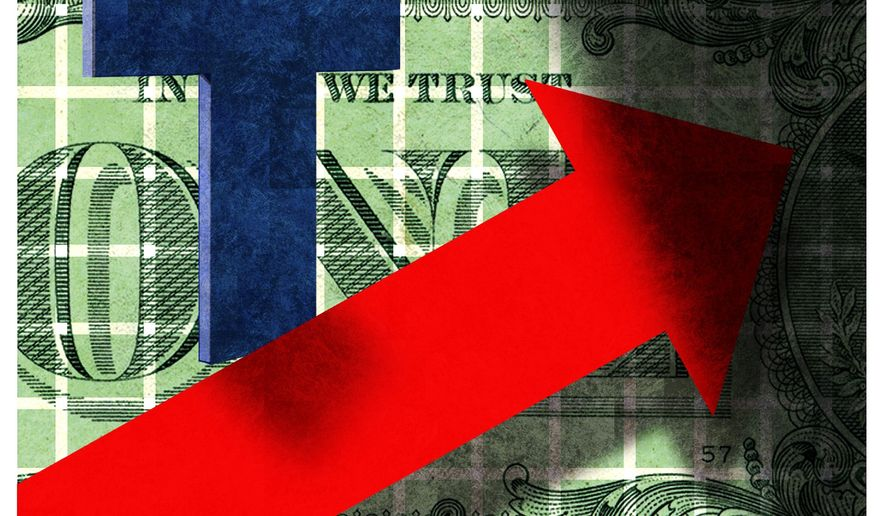 Illustration on future economic growth by Alexander Hunter/The Washington Times