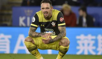 Southampton's Danny Ings reacts after missing a chance to score during the English Premier League soccer match between Leicester City and Southampton at the King Power stadium in Leicester, England Saturday, Jan. 11, 2020. (AP Photo/Rui Vieira)