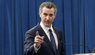 California Gov. Gavin Newsom responds to a reporters question about his proposed 2020-2021 state budget during a news conference in Sacramento, Calif., Friday, Jan. 10, 2020.. (AP Photo/Rich Pedroncelli) ** FILE **