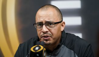 Clemson co-offensive ordinator Tony Elliott speaks during media day for NCAA College Football Playoff national championship game Saturday, Jan. 11, 2020, in New Orleans. Clemson is scheduled to play LSU on Monday. (AP Photo/David J. Phillip).