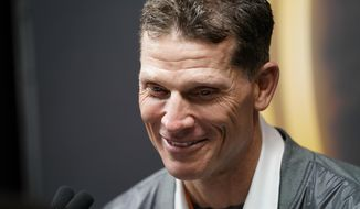Clemson associated head coach Brent Vemables speaks during media day for NCAA College Football Playoff national championship game Saturday, Jan. 11, 2020, in New Orleans. Clemson is scheduled to play LSU on Monday. (AP Photo/David J. Phillip).