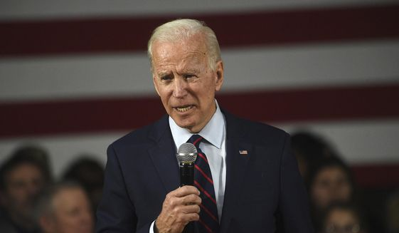 Democratic presidential candidate, former Vice President Joe Biden speaks during a campaign rally at Sparks High School in Sparks, Nev., on Friday, Jan. 10, 2020. (Jason Bean/The Reno Gazette-Journal via AP)