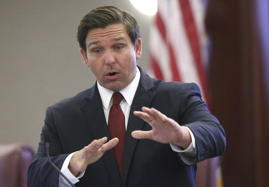 FILE - In this Tuesday, Oct. 29, 2019 file photo, Gov. Ron DeSantis speaks at pre-legislative news conference in Tallahassee, Fla.  The 60-day Florida legislative session that begins Tuesday, Jan. 14, 2020,  will have lawmakers considering everything from coconut patties to a state budget expected to exceed $90 billion. Lawmakers are also expected to address abortion rights, private gun sales and environmental issues such as the rise in sea level. (AP Photo/Steve Cannon, File)