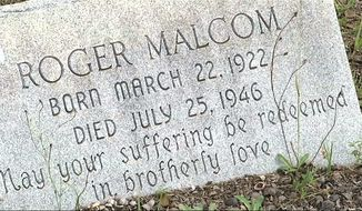 This July 26, 2014, photo shows the grave site of Roger Malcom in Rutledge, Georgia. The brazen lynching in 1946 of two black couples riding along a rural road in Georgia by a white mob horrified the United States, but a federal grand jury indicted no one in the Moores Ford lynching and investigators over the decades since also failed to crack the case. In January 2018, Georgias top law enforcement agency closed its latest investigation, just months after the FBI concluded its latest review, saying all the likely killers were dead. (AP Photo/Alex Sanz)