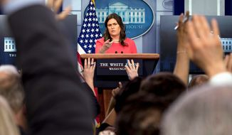 Days of yore: White House press secretary Sarah Huckabee Sanders during a daily press briefing at the White House in 2018. (Associated Press)