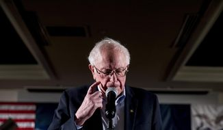Democratic presidential candidate Sen. Bernie Sanders, I-Vt., pauses while speaking at a climate rally with the Sunrise Movement at The Graduate Hotel, Sunday, Jan. 12, 2020, in Iowa City, Iowa. (AP Photo/Andrew Harnik)