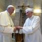 Pope Emeritus Benedict XVI (right) has broken his silence to reaffirm the value of priestly celibacy, co-authoring a book at the moment that Pope Francis is weighing whether to allow married men to be ordained to address the Catholic priest shortage. (Associated Press)