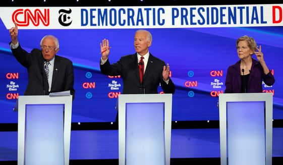 "Things may not be cordial at the Democratic debate in Des Moines, Iowa, on Tuesday. Election season is underway and a ""rift"" is a factor. Shown is a scene from a previous debate on Oct. 15, 2019. (Associated Press)"