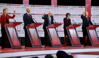 Six Democratic presidential hopefuls will take the stage for a debate on Tuesday at Drake University in Des Moines, Iowa. (Associated Press)