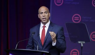 This July 25, 2019, file photo shows Democratic presidential candidate Sen. Cory Booker, D-N.J., speaking during the National Urban League Conference in Indianapolis. Booker dropped out of the 2020 Presidential race on Monday, Jan. 13, 2020. (AP Photo/Darron Cummings, File)