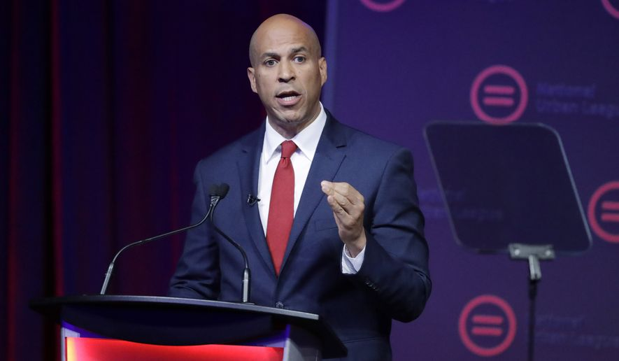 This July 25, 2019 file photo show Democratic presidential candidate Sen. Cory Booker, D-N.J., speaking during the National Urban League Conference in Indianapolis. Booker dropped out of the 2020 Presidential race on Monday, Jan. 13, 2020. (AP Photo/Darron Cummings, File)