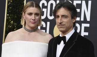 "FILE - This Jan. 5, 2020 file photo shows director Greta Gerwig, left, and Noah Baumbach at the 77th annual Golden Globe Awards in Beverly Hills, Calif. Both Gerwig and Baumback failed to receive Oscar nominations for best director for their film ""Little Women"" and ""Marriage Story,"" respectively, but they did receive nominations for adapted screenplay for Gerwig and original screenplay for Baumbauch. (Photo by Jordan Strauss/Invision/AP)"