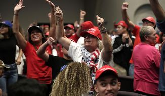 FILE - In this Jan. 3, 2020 file photo, supporters of President Donald Trump turn and yell towards the news media during a rally for evangelical supporters at the King Jesus International Ministry in Miami. Trump's bond with white evangelical voters has long sparked debate. But misunderstandings persist about his support from a Christian voting bloc that favored the GOP long before he took office.  (AP Photo/Lynne Sladky, File)