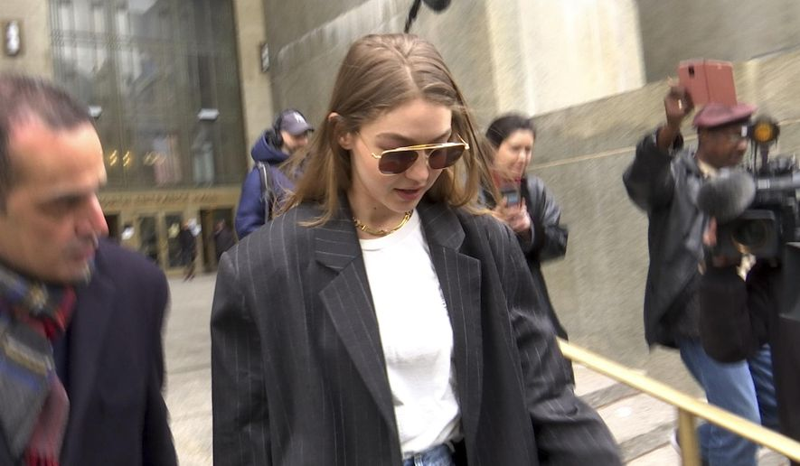 Model Gigi Hadid leaves New York Criminal Court on Monday, January 13, 2020. Hadid, who lives in Manhattan, is a potential juror in Harvey Weinstein's rape trial. (AP Photo/Ted Shaffrey)