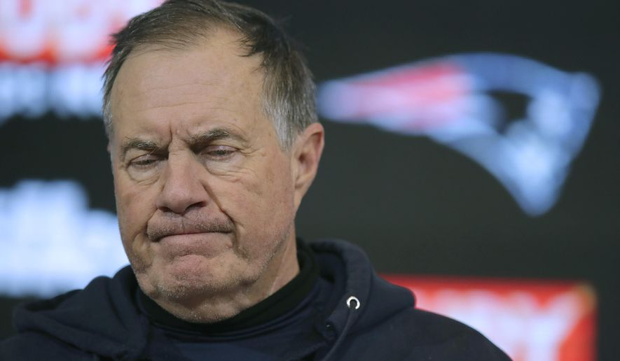 New England Patriots head coach Bill Belichick speaks to the media following an NFL wild-card playoff football game against the Tennessee Titans, Saturday, Jan. 4, 2020, in Foxborough, Mass. (AP Photo/Charles Krupa)