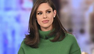 "This image released by ABC shows co-host Abby Huntsman on ""The View."" Huntsman said Monday, Jan. 13, 2020, she's leaving to help run her father's campaign for governor of Utah and spend more time with her family. She joined the show in September 2018 and her departure will leave Meghan McCain as the show's only real conservative voice. (Jenny Anderson/ABC via AP)"