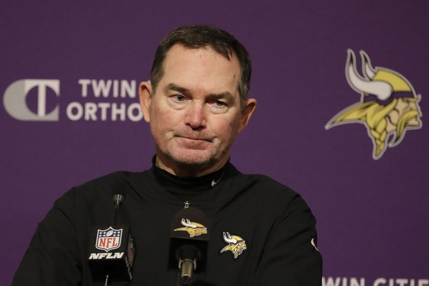 Minnesota Vikings head coach Mike Zimmer speaks at a news conference after the Vikings were defeated by the San Francisco 49ers in an NFL divisional playoff football game, Saturday, Jan. 11, 2020, in Santa Clara, Calif. (AP Photo/Marcio Jose Sanchez)