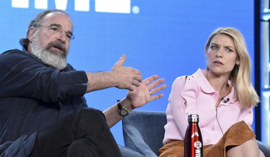 """Mandy Patinkin, left, and Claire Danes participate in the Showtime """"Homeland,"""" panel during the Winter 2020 Television Critics Association Press Tour on Monday, Jan. 13, 2020, in Pasadena, Calif. (Photo by Richard Shotwell/Invision/AP)"""