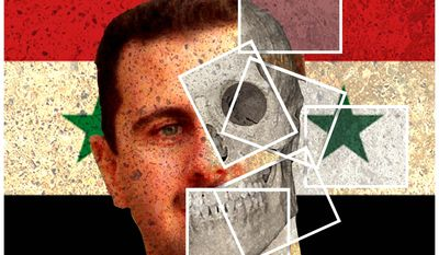 Illustration on exposing the Assad regime by Alexander Hunter/The Washington Times