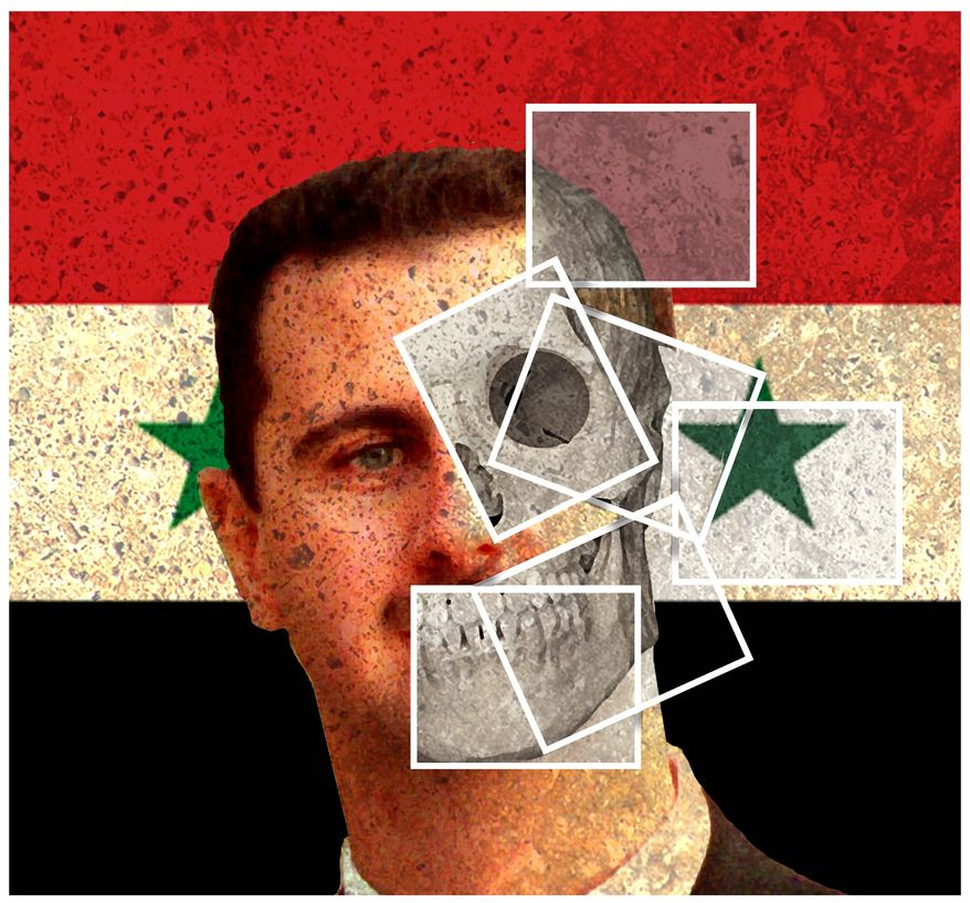 Illustration on exposing the Assad regime by Alexander Hunter/The Washington Times