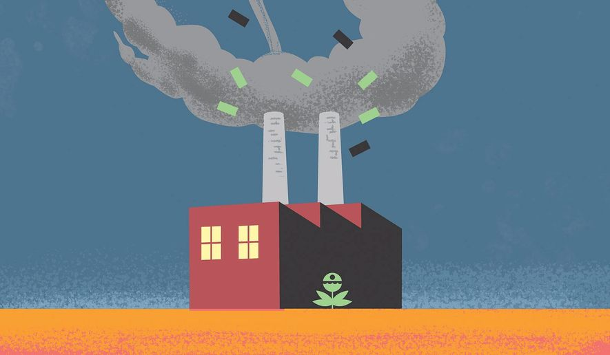Greenhouse gas credits illustration by Linas Garsys / The Washington Times