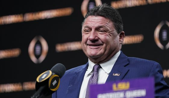 LSU head coach Ed Orgeron speaks during a news conference after their teams win in the NCAA College Football Playoff national championship game Tuesday, Jan. 14, 2020, in New Orleans. LSU won 42-25 over Clemson on Monday. (AP Photo/David J. Phillip)