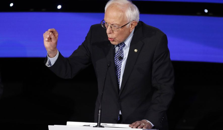 Democratic presidential candidate Sen. Bernie Sanders, I-Vt., speaks Tuesday, Jan. 14, 2020, during a Democratic presidential primary debate hosted by CNN and the Des Moines Register in Des Moines, Iowa. (AP Photo/Patrick Semansky)
