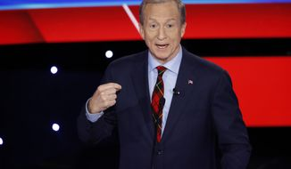 Democratic presidential candidate businessman Tom Steyer speaks Tuesday, Jan. 14, 2020, during a Democratic presidential primary debate hosted by CNN and the Des Moines Register in Des Moines, Iowa. (AP Photo/Patrick Semansky)